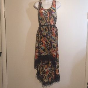 Poetry multicolor DRESS High-Lo Hem with Crochet